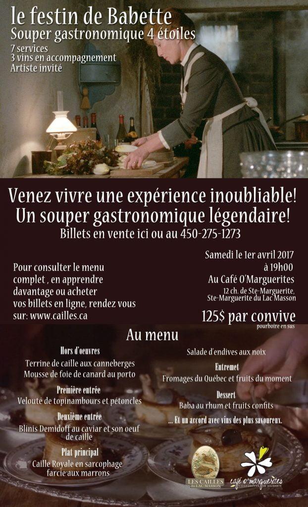 Souper Gastronomique Festin de Babette @ Café O' Marguerites | Sainte-Marguerite-du-Lac-Masson | Québec | Canada