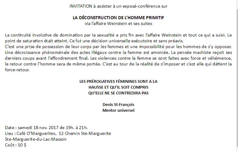 Conférence: LA DÉCONSTRUCTION DE L'HOMME PRIMITIF @ Café O' M'arguerites   Sainte-Marguerite-du-Lac-Masson   Québec   Canada